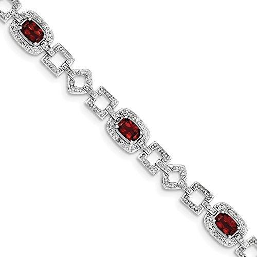 (FB Jewels Sterling Silver Rhodium-plated Diamond & Garnet Bracelet)
