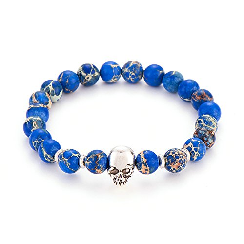 Beaded Bracelet Plated Stretch Silver (POSHFEEL Silver Plated Skull 8mm Gem-stone Stretch Bracelet Round Gem Semi Precious Beads Unisex, 7.5