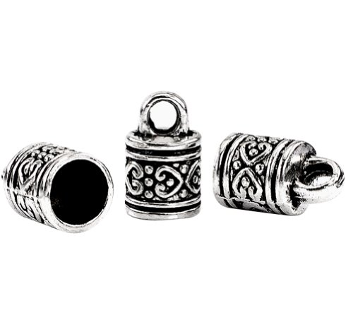 Housweety 40 Silver Tone Pattern Carved Column Pendants/Necklace End Caps 16x10mm Cap Bracelet Charm