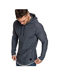 Men Fashion Long Sleeve Hoodies Sweatshirt, Male Solid Casual T-Shirt Blouse Tracksuits Tunic Tops Sport Slim Coat