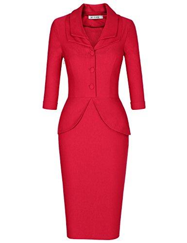 MUXXN Women's Flattering Double V Neck Peplum Waist Formal Juniors Dress (Red (Double Peplum Dress)