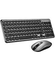 PATUOXUN Wireless Keyboard and Mouse Set【Scissor Key Design】 Ergonomic Comfortable 2.4G Cordless Keyboard & Mouse Combo with Longer Battery Life for Computer PC Apple Mac Windows - QWERTY,UK Layout