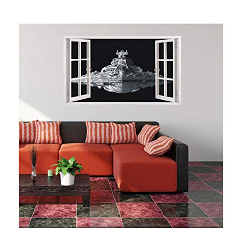 hwhz 3D Spacecraft Wall Sticker Living Room Decoration Home Decor False Window Stickers -