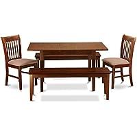 East West Furniture NOFK5C-MAH-C 5-Piece Dining Table Set