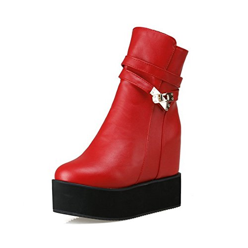 AgooLar Women's High Heels Soft Material Solid Zipper Round Closed Toe Boots Red