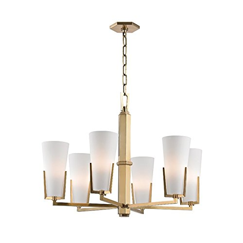 - Upton 6-Light Chandelier - Aged Brass Finish with Frosted Mouth-Blown Glass Shade