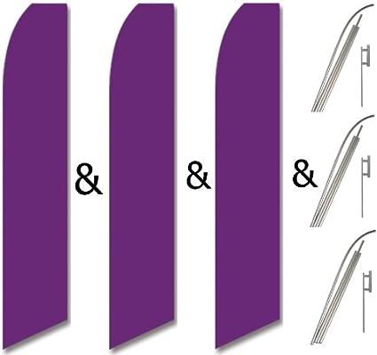 SOLID PURPLE 15 WINDLESS SWOOPER FLAGS KIT three 3