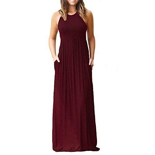 (PRIMODA Women's Casual Long Dresses Sleeveless Tank Tunic Plain Maxi Dresses with Pockets(Wine Red,L))