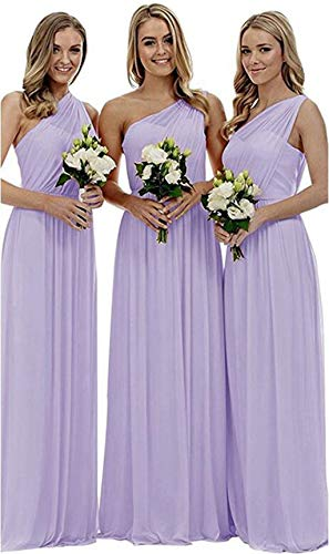 Women's Long One Shoulder Bridesmaid Dress Asymmetric Prom Evening Gown Lilac,18 ()