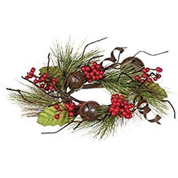 "Amazon.com: Sullivans 10.5"" Holly Berry Bells Table Wreath ..."