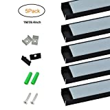 BrightRoom U-Shape Black LED Aluminium Channel 3.3ft/1Meter with End Caps and Mounting Clips for <12.2mm/0.48inch Width LED Strip Light Mounting 5-Pack