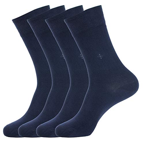 BUHA BAMBOO SOCKS - Mens Bamboo Series - Antibacterial, Scented, Seamless, and Soft Bamboo Socks for Men (Men Navy Blue Bamboo 4 Pair Set ()