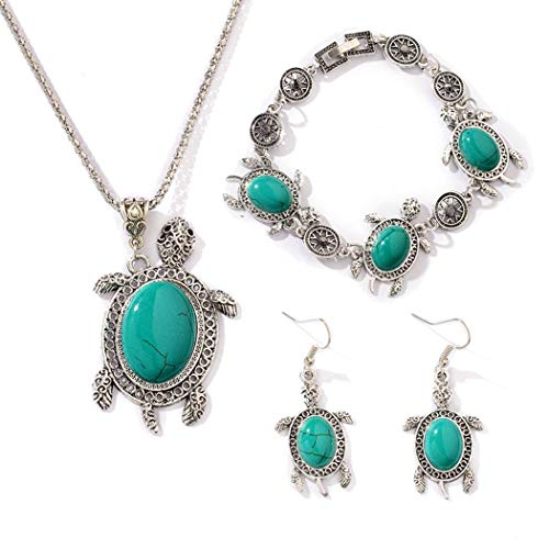 Evelove Women Jewelry Set Bohemian Artificial Gem Necklace Earrings Bracelet Jewelry Sets from evelove