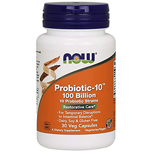 NOW Supplements, Probiotic-10, 100 Billion, with 10 Probiotic Strains,Dairy, Sory and Gluten Free, Strain Verified, 30 Veg Capsules ()