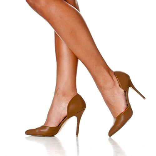 Nora Khaki D'Orsay Riverberry Slip Pump On Toe Pointed Pu Heels Women's 51TwzqH
