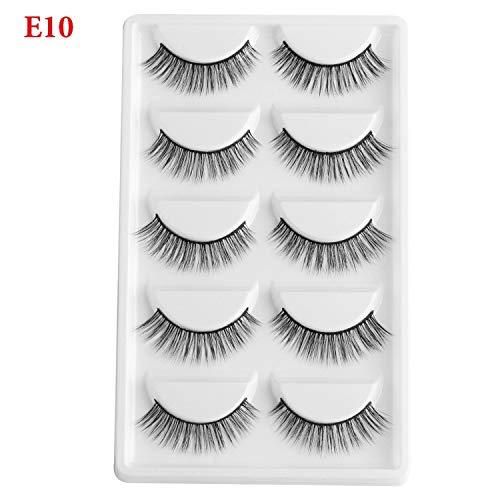 5 Pairs Natural Mink False Eyelashes 3D Thick Long Eyelash Wispy Charming Fake Eyelashes Fluffy eyelashes Extension Makeup Tool,E10 -