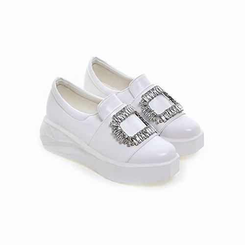 Mee Shoes Damen mit Strass runde Geschlossen Durchgängiges Plateau Weiß