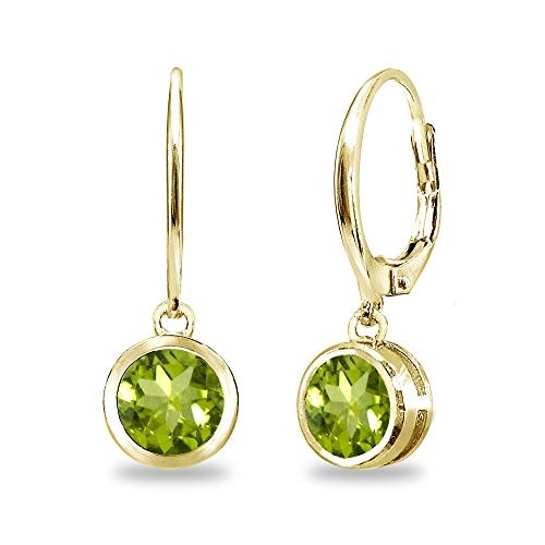 (Gold Flash Sterling Silver Peridot 6mm Round Bezel-Set Dangle Leverback Earrings for Women Teen Girls)