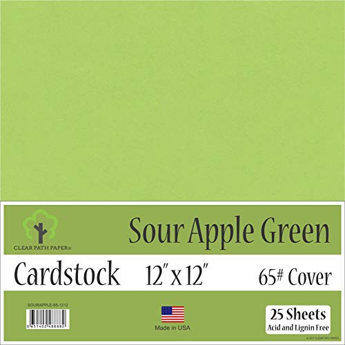 Sour Apple Green Cardstock - 12 x 12 inch - 65Lb Cover - 25 Sheets (Green Apple Sheets)
