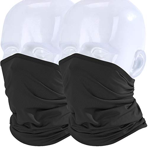 WTACTFUL 2 Pack Lightweight Neck Gaiter Neck Warmer Face Mask Windproof Anti-UV Protection Cover for Motorcycle Cycling Fishing Hunting Summer Outdoor Sports Suitable for Men Women 2 Pack of Black ()