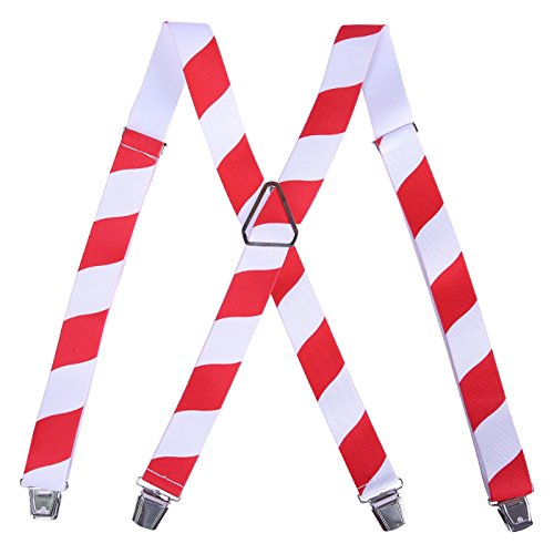 Candy Stripe (HDE Men's Big and Tall X-Back Clip Suspenders 1.5