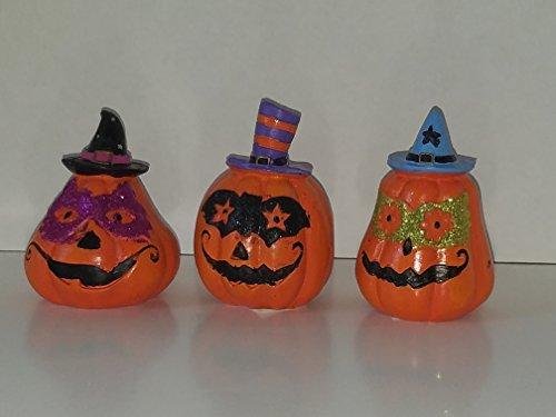 HALLOWEEN GLITTER DECORATIVE PUMPKINS SET OF (Animated Halloween Props Homemade)