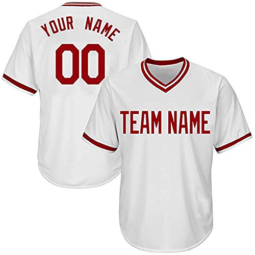 597ea6aba Amazon.com   QimeiJer Mens Baseball Team Jersey Button Down T Shirts Short  Sleeves Add Your Name   Numbers   Sports   Outdoors