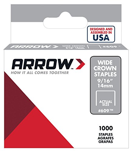 Arrow Fastener 609 Wide Crown Swingline Style Heavy Duty 9/16-Inch Staples, 1000-Pack ()