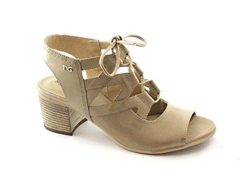 Cordones Giardini Champán 05720 Cuero Beige De Talón Zapatos Sandalias Nero Mujer pqvFxTT