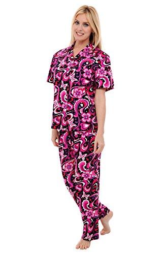 Alexander Del Rossa Womens Cotton Pajamas, Woven Pj Set with Pants, Medium 70s Pink (A0518P92MD)