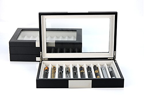 Decorebay Executive High class 10 Piece Black Wood Grain Fountain Pen Organizer Box with Glass Window (Crow)