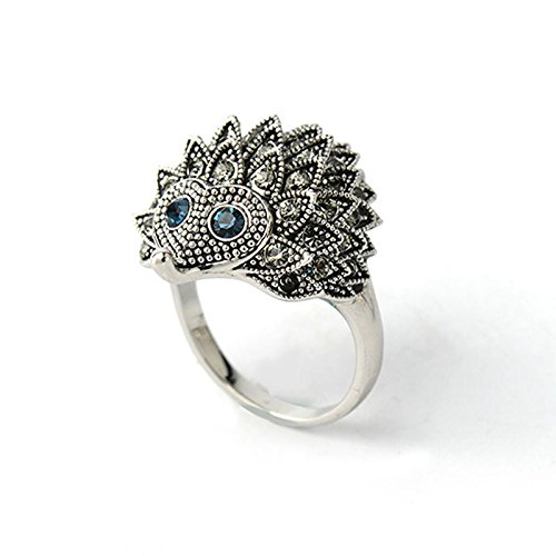 Ladies Animal Rhinestone Hedgehog Rings Party Finger Rings Fashion Jewelry Gift Size7
