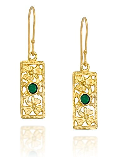 Stera Jewelry 14k Gold Plated Silver Floral Design Rectangle Earrings with Red or Green Gemstones