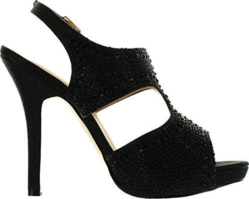 Deblossom De Bloesem Vrouwen Yael-71 Prachtige Glitzy Avond Feest Hakken Sandalen Schoenen Zwart