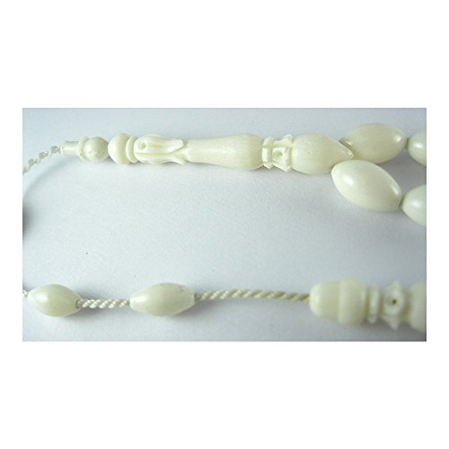 GloBeads Prayer Beads Turkish Gemstone Tasbih Gift, The yoke sleeve İmamesi Tasbih Zero Bone Carving (3353 Bone)