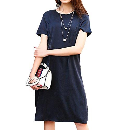 Kleid Seide S9982 Abendkleid Blau Kleider Cocktail Gestreift Übergröße Knee Long DISSA Damen F8wqw1
