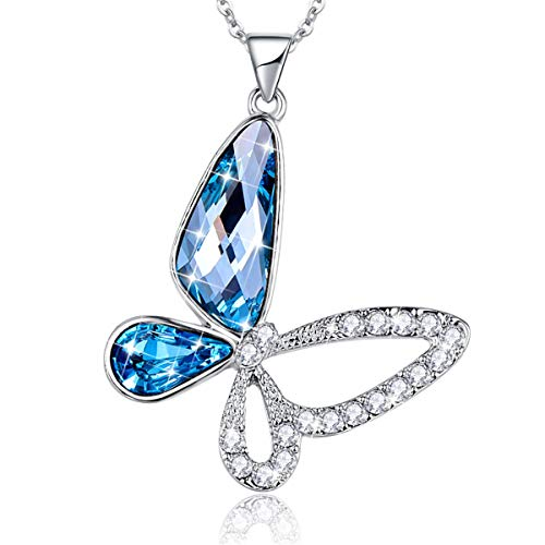 BONLAVIE Women's Blue Butterfly Pendant Necklace Aquamarine Austrian Crystal Gifts for Girlfriend and Mom Austrian Crystal Butterfly Necklace