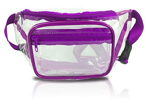 (Clear Fanny Pack Stadium Security Approved Waist Bag for Events, Games, and Concerts Transparent (Purple))