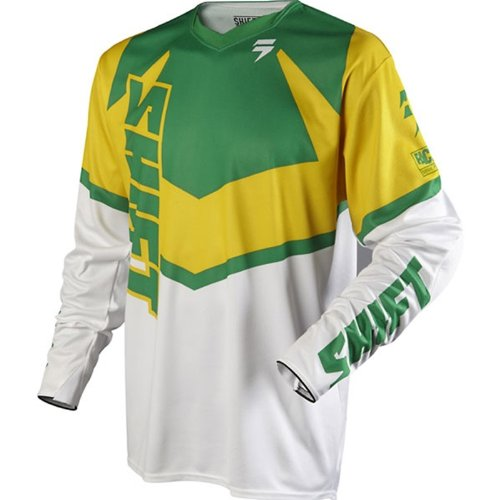 (Shift Racing F12 Faction Limited Edition Men's Off-Road Motorcycle Jersey - Green/Yellow /)