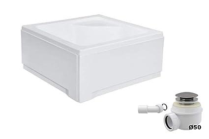 Sedile Per Box Doccia.Piatto Doccia In Acrilico Con Sedile Quadrato 80 X 80 Cm Grembiule