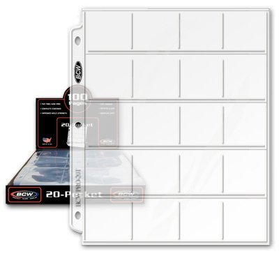 "BCW Pro 20-Pocket Pages, Pocket Size: 2"" x2"", 20 Pages - Coin Collecting Supplies"