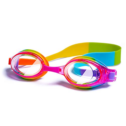 Kids Swim Goggles, Waterproof Swimming Glasses With Clear Wide Vision Anti Fog UVA/UVB Protection and No Leak Soft Silicone Gasket for Girls by iToobe