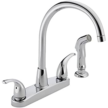 Peerless Tunbridge 2 Handle Kitchen Sink Faucet With Side