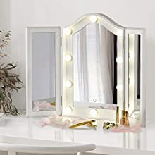 LUXFURNI Vanity Lighted Tri-fold Makeup Mirror with 10 Dimmable LED Blubs, Touch Control Lights Tabletop Hollywood Cosmetic Mirror