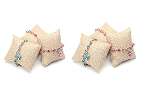 JUMUU 6-Pieces Small Linen Bracelet Watch Pillow Jewelry Displays 3.2