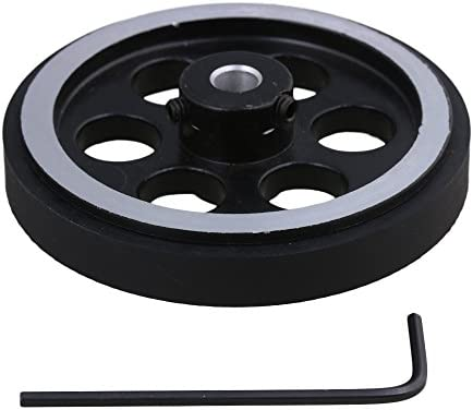 200x6mm Negro Plata Industrial Aluminio Caucho Giratorio Codificador Ruedas de medición con llave para medir la velocidad de transporte y la posición