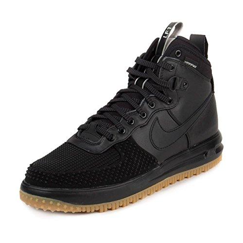 Nike Mens Lunar Force 1 Duckboot Black/Black/Metallic Silver/An Boot 12 Men US