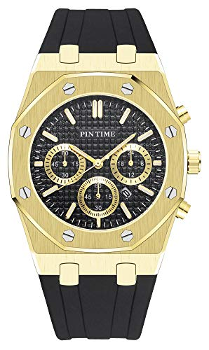 PINTIME Luxury Men's Business Fashion Quartz Watch Black/Rose Gold/Silver Casual Sports Watches Calendar Silicone Strap