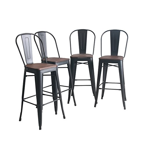 YongQiang Metal Barstools Set of 4 Indoor/Outdoor Bar Stools High Back Dining Chair Counter Stool Cafe Side Chairs with Wooden Seat 30L Matte Black