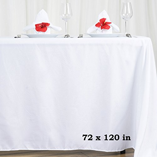 LinenTablecloth 70 x 120-Inch Rectangular Polyester Tablecloth White
